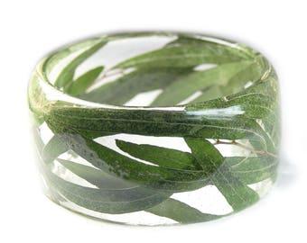 Green Eucalyptus Leaf Bracelet- Green Bangle- Green Leaf Jewelry- Resin Jewelry- Flower Bangle- Green Resin Bracelet