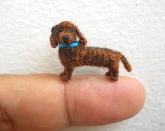 Micro Dachshund Stuff Animal - Tiny Crochet Animal Miniature Dog Amigurumi - Made To Order