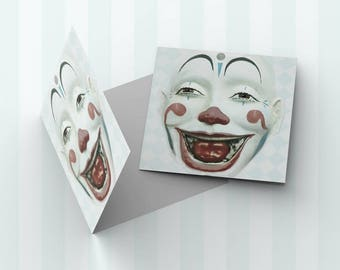 "Vintage Style CLOWN FACE 5x5"" Blank Greeting Card"