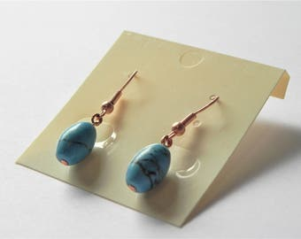 Turquoise rice bead gemstone copper earrings