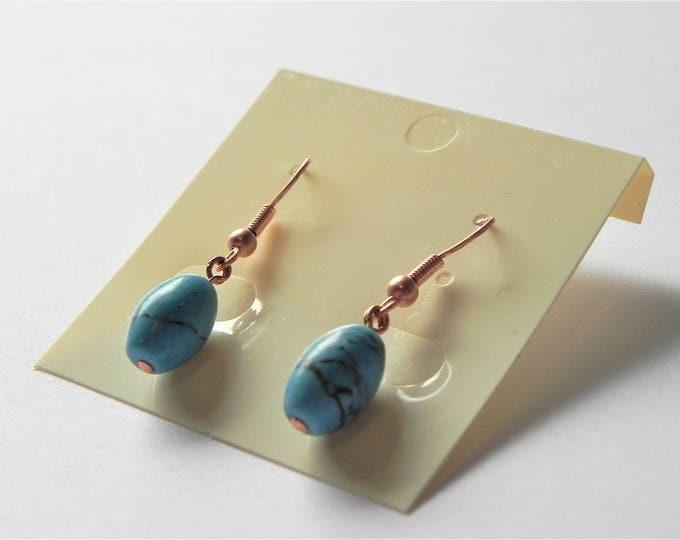 Turquoise rice bead gemstone copper earrings