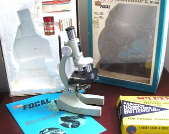 Vintage Focal Student Microscope PRECISION Made WITH Milben Insect Slides/Made in Japan/100x-300x zoom