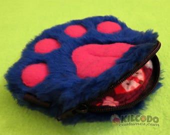 Paw Wallet - Handmade Zipper Pouch - 100% Fake Faux Fur -  Pawlet - Blue & Pink w Foxes