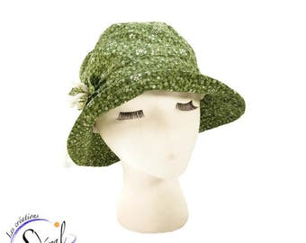 Ladies summer hat, green with flowers hat, coton hat, beach hat, travel hat, sun hat, women summer hat, sun protection
