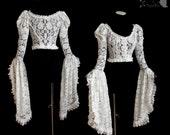 Lace shrug, ivory bolero, wedding, art nouveau, Frances, Somnia Romantica, approx size small - medium see item details for measurements