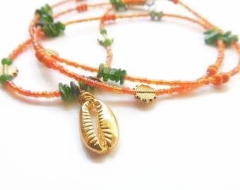 Waist Beads, Cowrie Aventurine Waist Beads, Aventurine  Money Waist Beads, African Waist Beads, Green Waist Beads, African Belly Chain