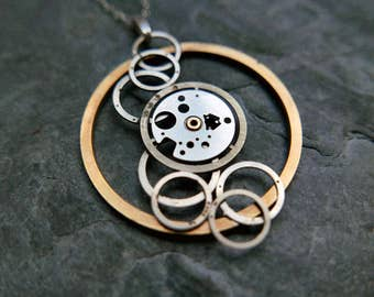 "Watch Parts Pendant ""Cebalrai"" Elegant Intricate Mechanical Watch Sculpture Necklace Industrial Steampunk Wearable Art Mechanical Mind"