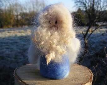 Winter Gnome 'Frost' - Needle Felted in the Waldorf style