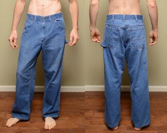vintage 70s carpenter jeans Big Mac denim workwear work wear jeans hammer loop jeans 1970 vintage denim 32x39 32 waist
