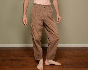 vintage 90s cargo pants Bugle Boy brown faded 1990 high waist pleat surf skate street style waist baggy tapered pants hiking camping 30M 30