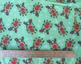 Reindeer Christmas Lights on Lime Extra Large 41 x 41 Handmade Flannel Receiving Swaddle Baby Blanket