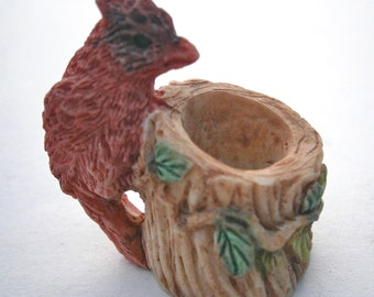 Vintage Ceramic Red Bird Miniature Figurine Brown Pottery Fairy Collection Garden Plant Terranium Playhouse Nature Easter Stoneware Statue