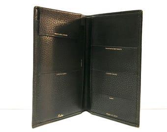 Vintage black leather Sheldon PASSPORT cover billfold holder, toga steer leather