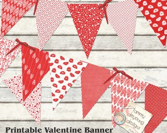 Valentine Bunting, Red and White Heart Garland, Valentine Wedding Banner, Printable Valentine party decoration, lips kisses Love theme
