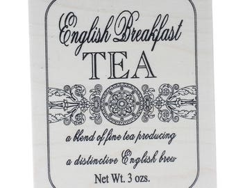 English Breakfast Tea Fine Blend Stampington And Co Wooden Rubber Stamp
