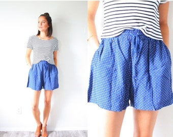 30% OFF VALENTINES SALE Vintage blue polka dot summer shorts // mini shorts // Mod flowy shorts //high waisted polka dot shorts // Xs small