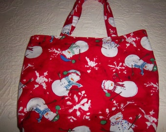 Red Snowman Fabric Gift Bag