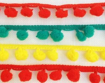Mini Pom Pom trim. 10mm pom pom Trim in Red, teal or yellow