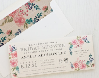 "Watercolor Floral Bridal Shower Invitation, Boho Shower Card with Matching Envelope Liner, Unique Bridal Shower 3.00/each - ""Spring Floral"""