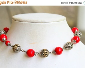 WINTER SALE Pretty Vintage Bright Red Glass Beaded Brass Filigree  Choker Necklace