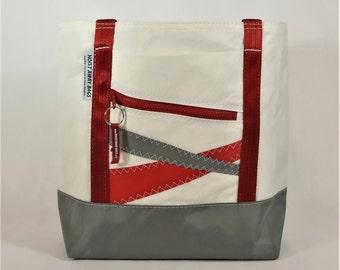 Recycled Sails, Sail Bag, Nautical Gift, Beach Bag, Nautical Bag, Gym Bag, Classic Tote, White Bag, Red Bag, Gray Bag (R5)