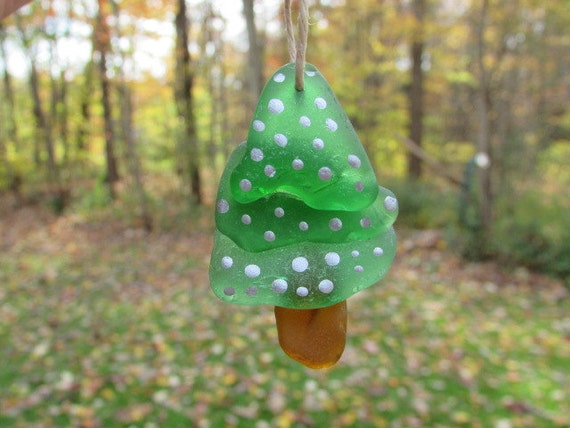 Beach glass christmas tree ornament sea