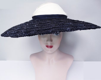Reserved ~~~~~Vintage 1940s Hat//40s Hat//Large Brim hat//Old Hollywood//Navy Blue//Gage//New York//Never Worn//Still has Tag