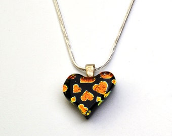 Dichroic Heart Pendant Orange Hearts on Black Glass Necklace