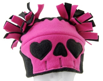 Pink Sweetie Skull Fleece Hat