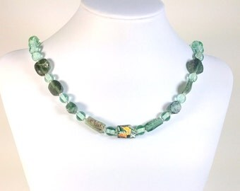Ancient Roman glass and modern lampworked glass bead necklace