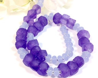 Purple/lilac recycled glass and lampworked glass bead necklace