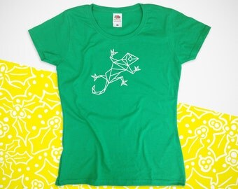 Ladies Origami gecko Handprinted T-shirt. gift. Clothing
