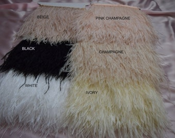 Ostrich Feather Fringe trim 10-15 cm (4-6 inch), 24 inches length, white, pink champagne, black, grey, yellow, turquoise, fuchsia, mint