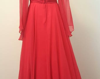 SALE Vintage Emma Domb Pink Chiffon Gown 1960s to early 70s Huge Bell Sleeves Small