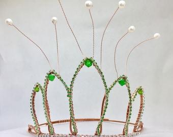 Tiana Crown - Tiana Costume - Green Crown - Unique Crown - Cosplay Headdress - Tiana Tiara