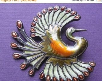 On Sale Vintage David Andersen Bird Of Paradise Brooch Norway Sterling Enamel