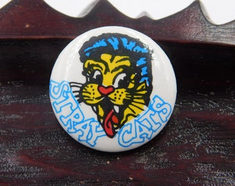 Vintage 1980's Rockabilly Band The Stray Cats Pin Pinback Button DR1