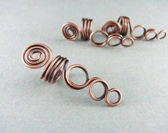 Dread Bead Copper Wire Wrapped Jewelry Braid Jewelry LOC Cuff Wire Hair Bead Hair Jewelry Copper Hair Bead Boho Dread Bead Set of 3