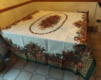 "Luxury Brazilian huge NEW cotton tablecloth 84"" Creamy vegetables . RARE.New old stock.Gift.festive celebratory banquet Gift idea"