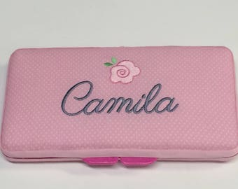 Personalized Baby Girl Pink Flower Wipe Case