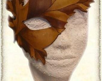 "Custom made, Leather fantasy mask ""leaf"""