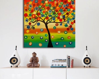 Original Modern Abstract, Colorful Tree Painting, Multicolors Painting, Ready to Hang, Gallery Canvas, Circles Painting, large tree painting