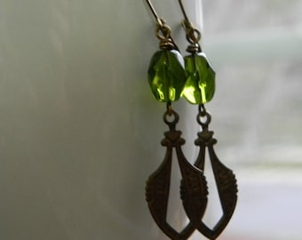 Dangle earrings art deco earrings olivine glass green earrings bohemian jewelry boho gift for her