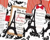 Paris Theme Invitations, Black, Red, White Paris Invitations, Graduation Invitations,Bridal Shower Invitations,Wedding Invitations,Set of 24