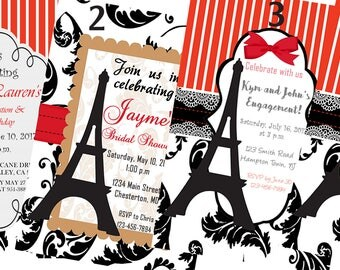 Paris Theme Invitations, Black, Red, White Paris Invitations, Graduation Invitations,Bridal Shower Invitations,Wedding Invitations,Set of 24