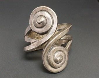 "Margot de Taxco #5104 Sterling Clamper Bracelet ""The Snail"" Hilario Lopez Produced"