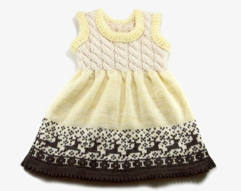 Knitted Baby Dress - Natural White, Pastel Yellow and Brown, 18 - 24 months