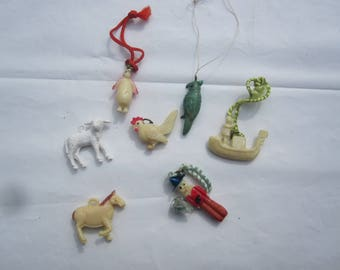 7 Vintage Celluloid Charms/ Cracker Jack Charms