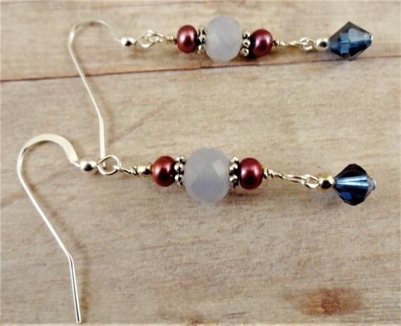 Blue Chalcedony Pink Pearl and Swarovski Earrings, Blue and Rose Earrings, Long Dangle Earrings, gemstone earrings, stone and pearl earrings