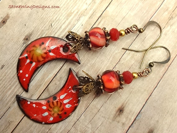 Red Crescent Moon Artisan Enamel and Lamp Glass Earrings